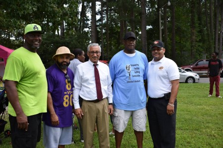 "Corey Olds (2nd from left) and Congressman Bobby Scott (Center) at the 2018 Community ""Back to School Bash"""